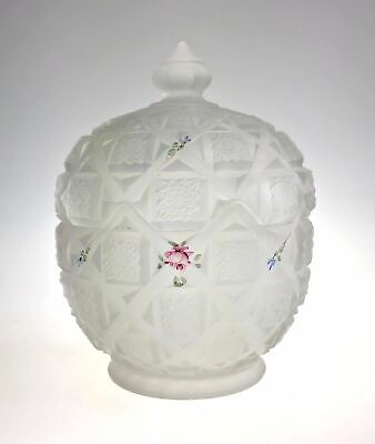 Frosted Cut Glass Star on Panel Covered Candy Jar Hand Painted Floral
