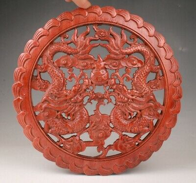 Rare Chinese Wood Handmade Carving Dragon Statue Plate Old Collection