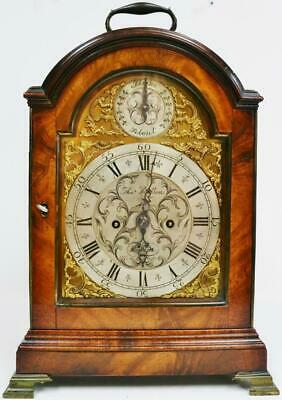 Antique 18thC English Mahogany Arched Top Twin Fusee Verge London Bracket Clock