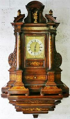 Rare Antique Huge English Triple Fusee Musical 9 Bell Bracket Clock & Bracket