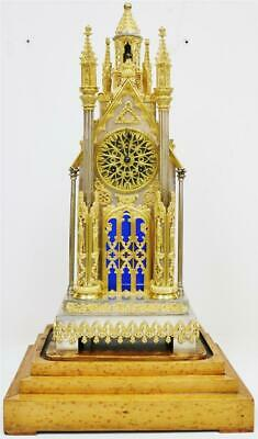 Amazing Antique French Empire Bronze & Silvered Cathedral Automaton Mantle Clock