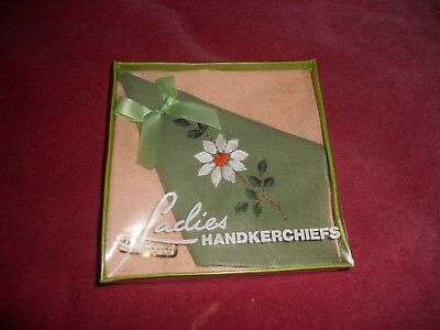Vintage Irish cotton boxed NEW set of 2 LADIES HANDKERCHIEFS made N IRELAND