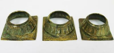 Set Of 3 Antique 18thC Brass Longcase Grandfather Clock Pillar Cap Bases