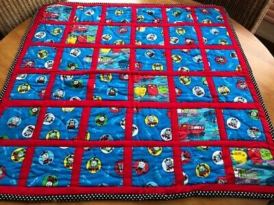 "Thomas the Train Baby Quilt or Play Mat, Hand Quilted & Signed, 35.5"" x 35.5"""
