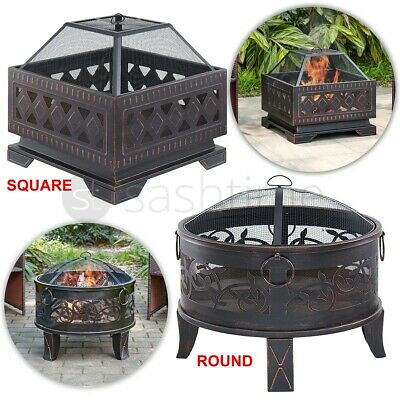 Outdoor Lattice Firepit BBQ Brazier Garden Stove Patio Heater Mesh Grill Poker