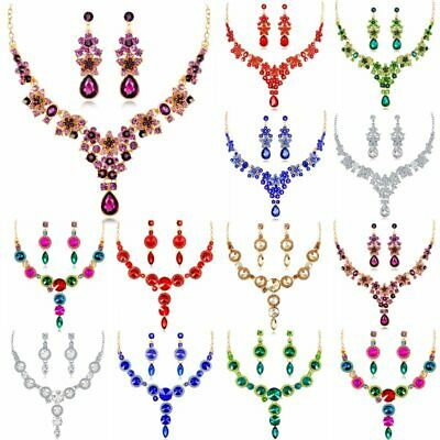 Fashion Crystal Rhinestone Prom Wedding Bridal Jewelry Set Necklace Earrings Hot