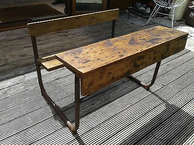 Lovely Vintage School Desk Double Size Old Wood And Metal Fold Up Seat Chic