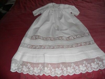 Antique/Vintage Victorian/Edwardian white cotton CHRISTENING GOWN lace design