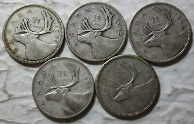 Canada 5 x 80% Silver 25 Cents Lot, 1937, 1945, 1947ML, 1950 & 1956, Circulated