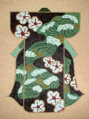 MZC Small Floral Kimono Hand Painted Needlepoint Canvas