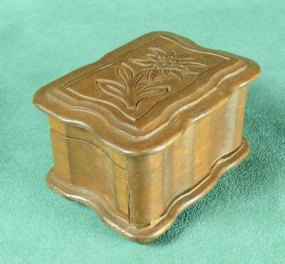 SWISS CARVED WOODEN PUZZLE TRINKET BOX - Edelweiss & Curved Lid - Switzerland