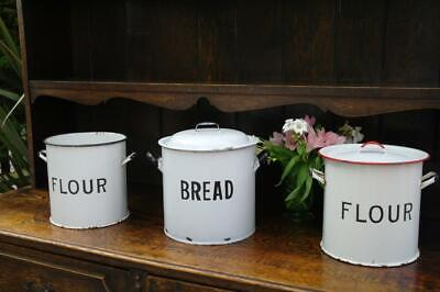 Vintage Enamel Bread Bin & 2 Large Flour Bins 30's Job Lot Rustic Chic Interiors
