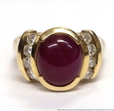 14K Yellow Gold Natural Ruby Cabochon Fine Diamond Vintage Ladies Ring Size 6.75