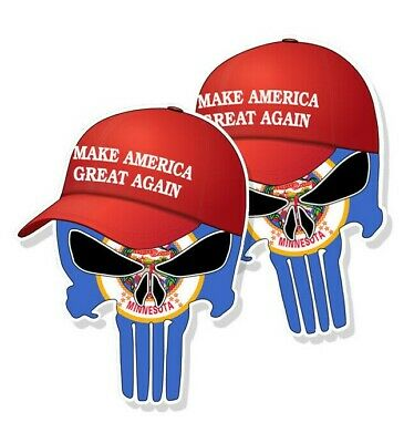 "TRUMP PUNISHER STICKERS Minnesota State Flag MAGA Hat Decals - 3"" tall 2-pack"