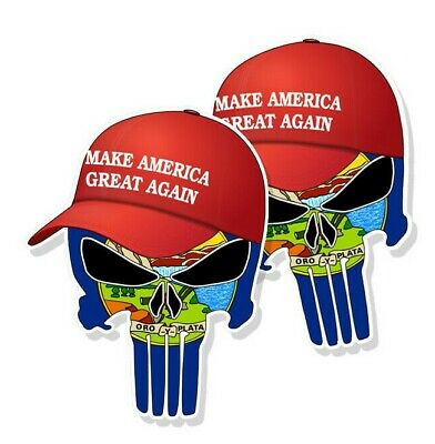 "TRUMP PUNISHER STICKERS Montana State Flag MAGA Hat Decals - 3"" tall 2-pack"