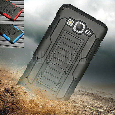 Rugged Hybrid Hard Armor Case Stand Cover Clip For Samsung Galaxy Go Prime G530A