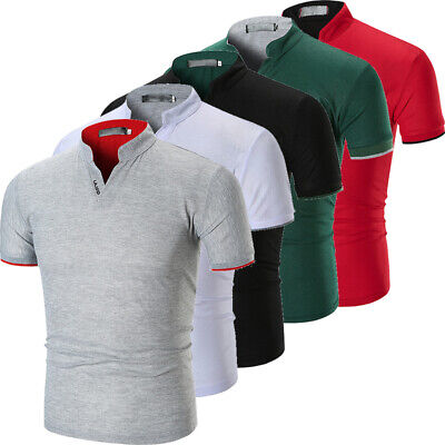 UK Stock Mens Slim Fit Short Sleeve V-Neck Casual T-Shirt Tops Muscle Tee Shirt