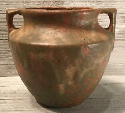 Burley Winter Pottery Arts & Crafts Green & Copper Two Handle Vase 43