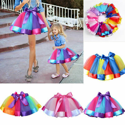 Layered Ballet Rainbow Tutu Skirt Casual Matching Dress for Women Girl Adult Kid
