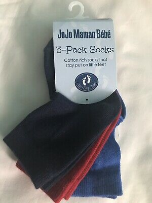 Jojo Maman Bebe Boy's 3 Pack Cotton Rich Socks That Stay Put, 6-12 Months NWT