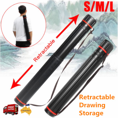 Retractable Drawing Picture Storage Tube Drafting Painting Poster Scroll Box AU