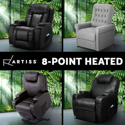 Artiss Recliner Massage Chair Lift Chairs Electric Sofa Leather Fabric Heated