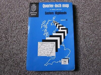 Eastern Highlands - Ordnance Survey Quarter-Inch Cloth Map , Sheet 5 , 1967