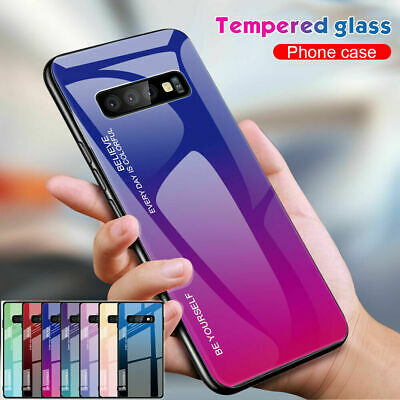 Hybrid Gradient Tempered Glass BACK Case Cover For Galaxy S10 S9 S8 plus Note9 8