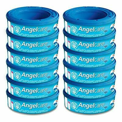 12 x Angelcare Nappy Disposal System Refill Cassettes Wrappers Bags Sacks NEW