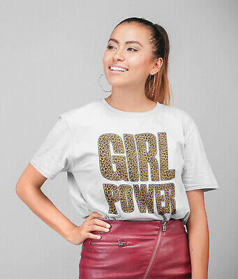 Womens FASHION T-Shirt Girl Power LEOPARD Summer Spice Girls Inspired White Top