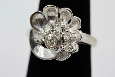 Art Deco Vintage 14K Heavy White Gold & 6 Old Cut Diamonds Size 6.25 Fanned Ring