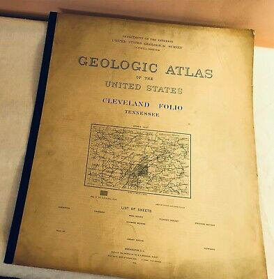 VTG GEOLOGIC ATLAS OF US 1895 CLEVELAND FOLIO TENNESSEE Areal Geology MAPS