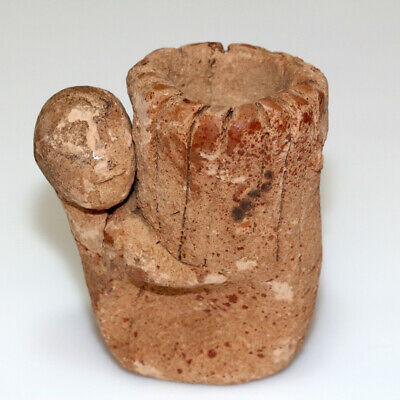Scarce-Near Eastern Terracotta Rhyton Decorated With Male Statue-Ca 100-400 Ad