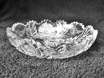 "Vintage American Brilliant 7"" Bowl, Radiant Daisy with Butterflies Pattern"