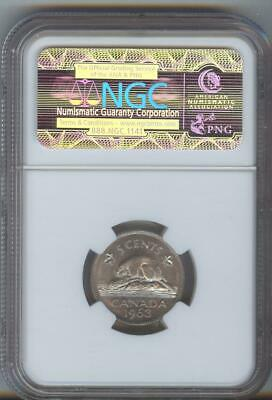1963 NGC. MS 65 5 cent coin.