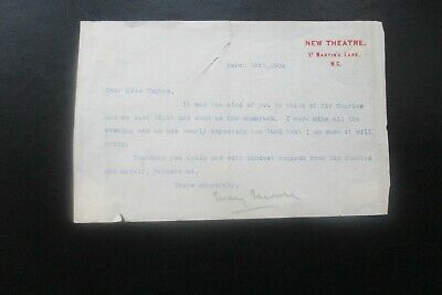1904 Mary Moore Actress Signed Letter New Theatre London Charles Wyndham