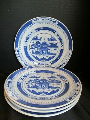 Vintage Chinese Export Blue & White Canton 4 Salad Plates 7""