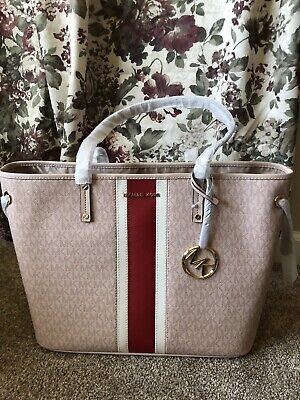 a76f6e67a37f Michael Kors JET SET TRAVEL LARGE Drawstring With Stripe Tote Bag In  BALLET- NWT