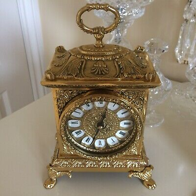 Vintage / Retro In Antique French Style Ornate Gold Gilt Carriage Clock