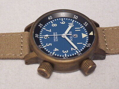 Raven Defender Brass 300M Automatic, Blue Dial, Extra Strap, Great Patina