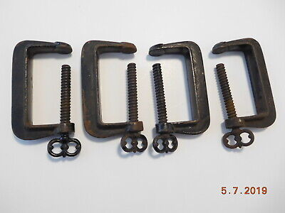4 Antique Ornate Matching Cast Iron Threaded Quilting Sewing Frame Clamps
