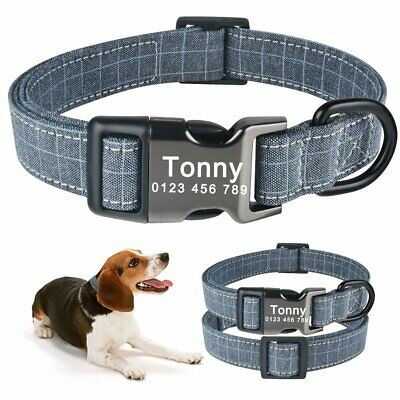 Grey Personalised Dog Collar for Male Pet Pup Name ID Tag Buckle Custom Engraved