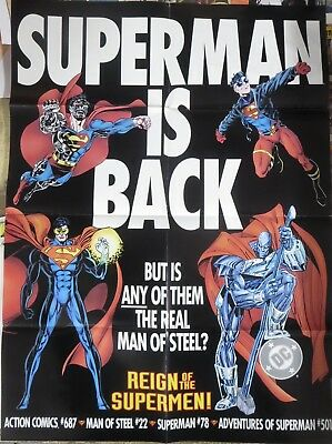"REIGN OF THE SUPERMEN PROMO POSTER 20""x26"" DC COMICS!"