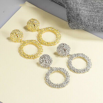 Vintage Drop Earrings For Women Golden Silver Color Round Circle Hollow Heavy
