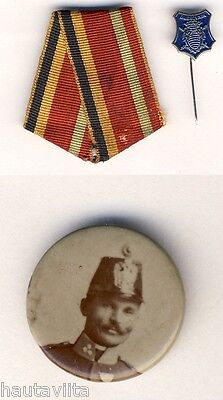 Russian Colonel General Photo Button 1905 Russo Japanese War + Medal Ribbon Pin