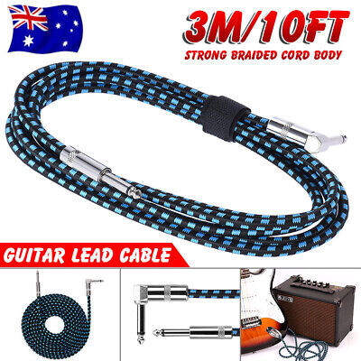 10FT 3M Guitar Lead Wire 1 Right Angle Jack Noiseless Braided Instrument Cable