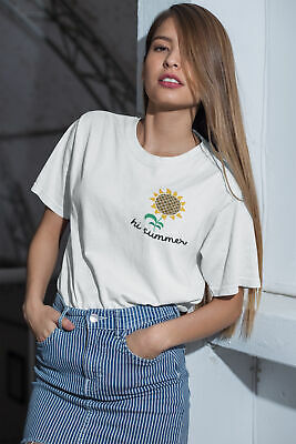 Womens FASHION T-Shirt Hi Summer Pocket Print Funny Trendy Hipster Flower Top