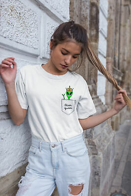 Womens FASHION T-Shirt ALIEN Queen Pocket Print Funny Summer Hipster Trendy UFO