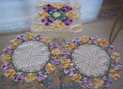 vintage crochet doilies one granny square pansies Nice