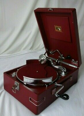 HMV Gramophone 102 RED  Excellent Condition + Record Holder *World Post*